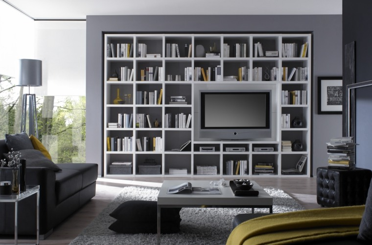 Bibliotecas grandes para salas de estar modernas for Cosas modernas para el hogar