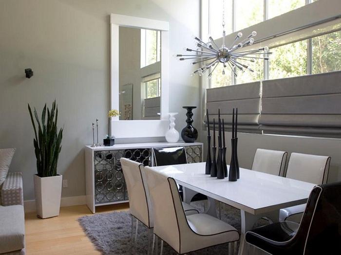 blanco negro salones abiertos casa macetas