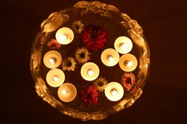 bol cuenco flores velas flotantes