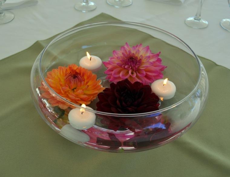 bonita decoración bol velas