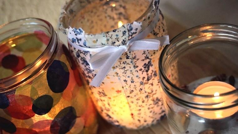 bonita decoración tarros vidrio