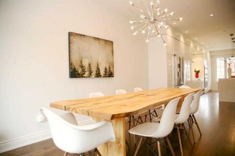 Mesas de comedor modernas de madera maciza - 50 ideas. -
