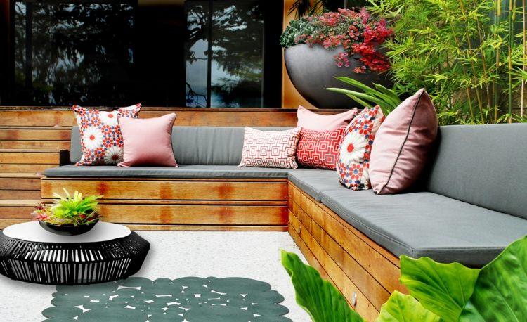 bonita terraza cañas bambú deco