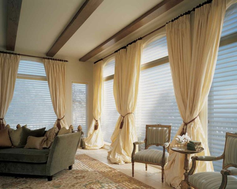 decoracion cortinas salon bonitas cortinas lisas color beige
