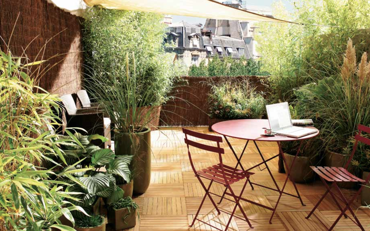 bonito balcón muchas plantas