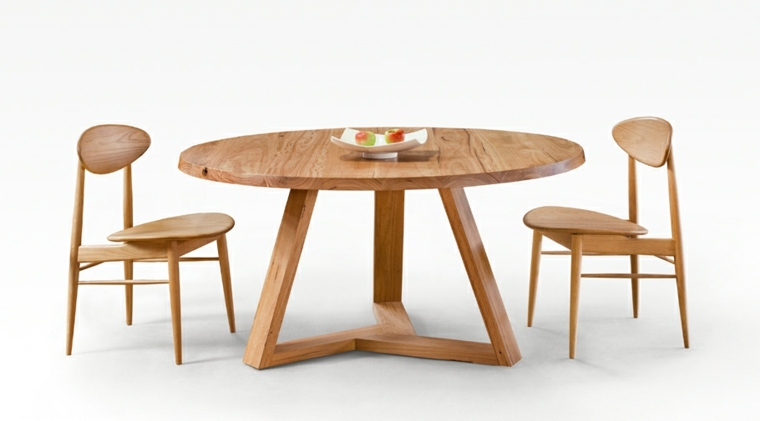 Mesas de comedor modernas de madera maciza m s de 50 ideas for Mesas de comedor redondas extensibles de madera