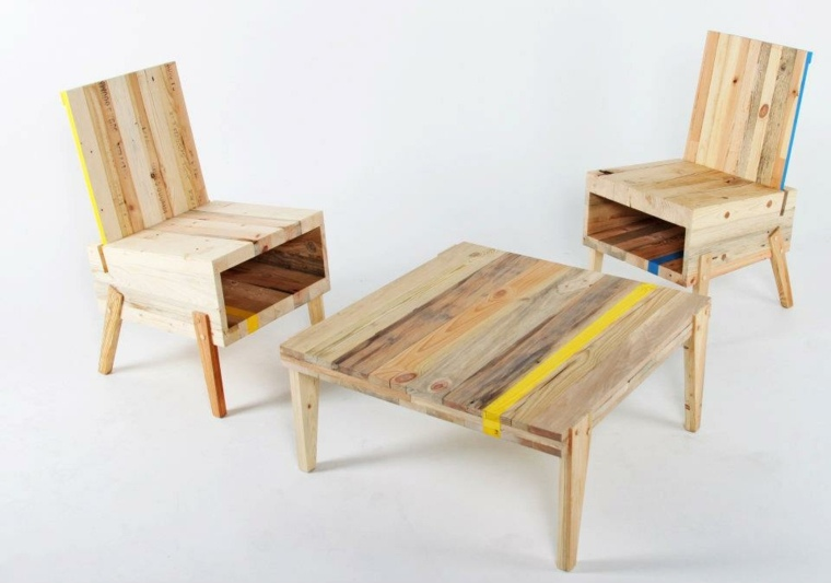 bonito conjunto muebles reciclsados madera