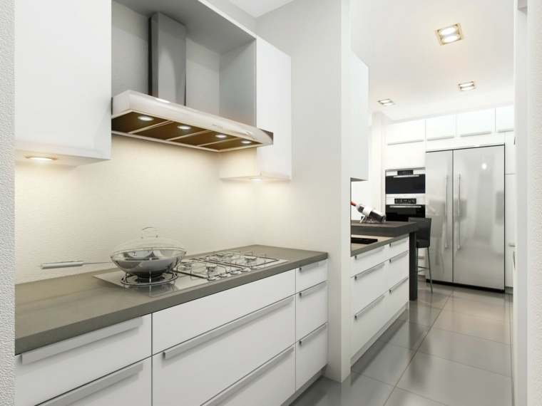 Cocinas blancas y grises los 50 dise os m s actuales for Ideas para reformar cocina alargada