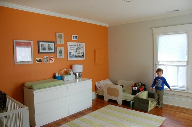 bonito diseño pared color naranja