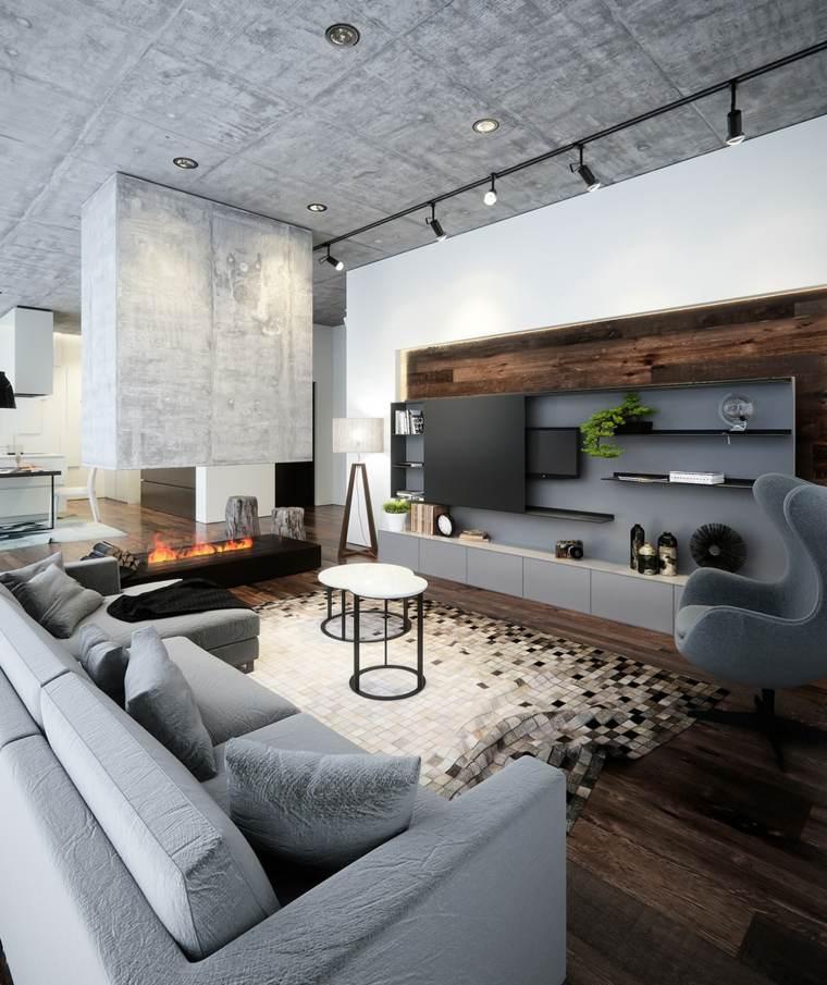 bonito diseño salón estilo industrial