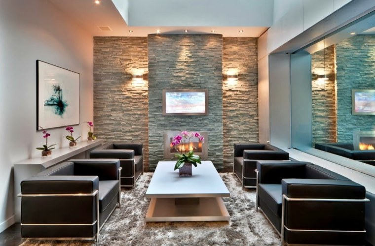 Salones con chimenea moderna 50 interiores c lidos - Chimeneas de pared modernas ...