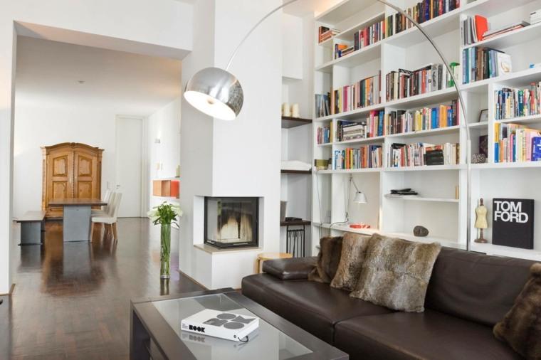 bonito diseño sala estar biblioteca
