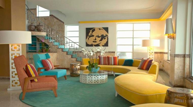 bonito salón muebles colores