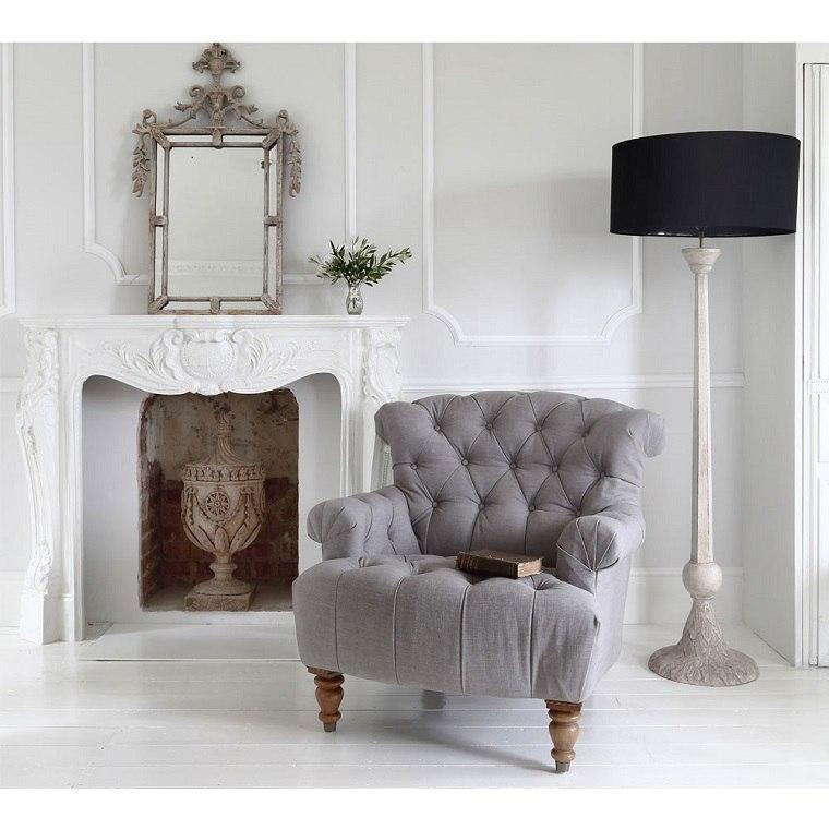 bonito sillón gris capitoné