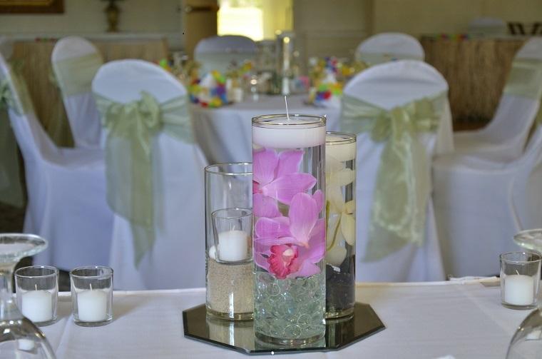 bonitos centros mesa velas bodas