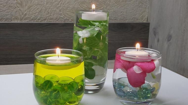 bonitos centros mesa velas flotantes