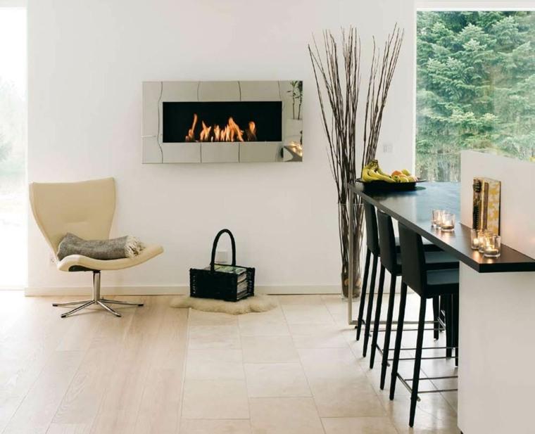 bonitos diseños interiores chimeneas modernas