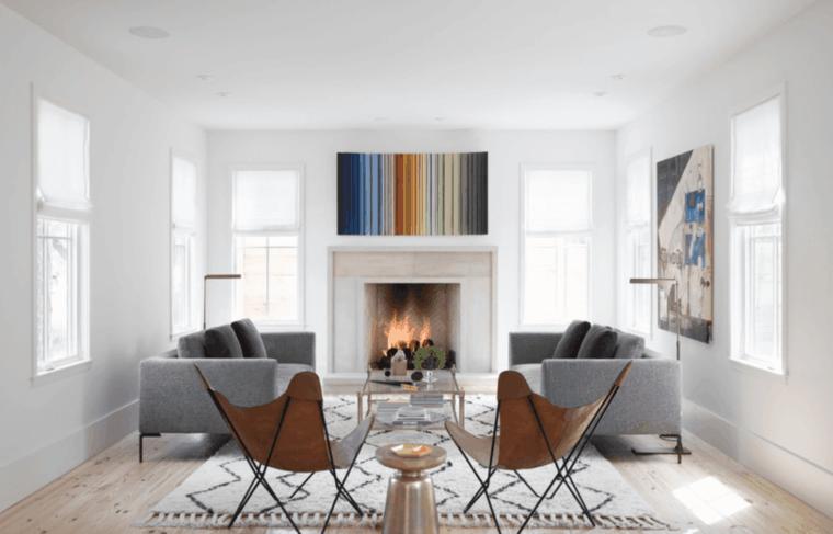 diseños salones con chimenea