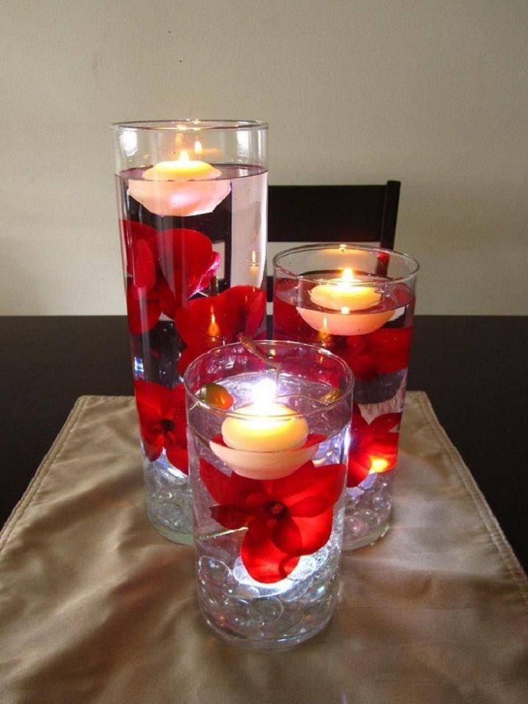 bonitos centros petalos rojos velas
