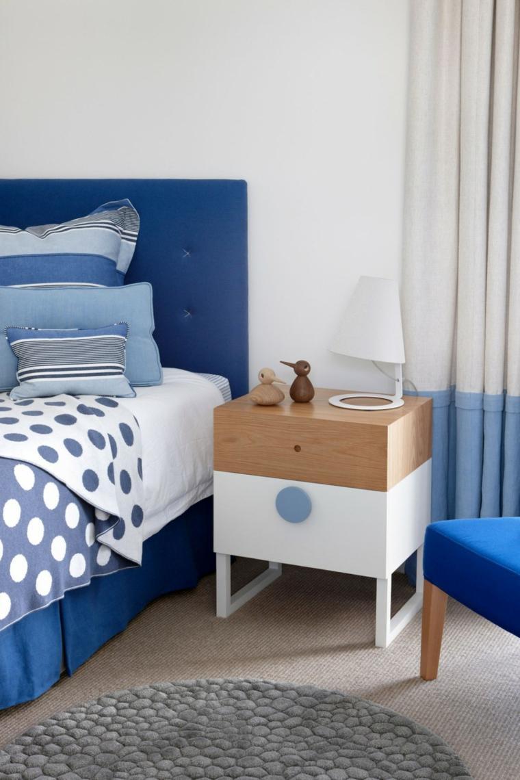 cabeceros originales dormitorio cama color azul ideas