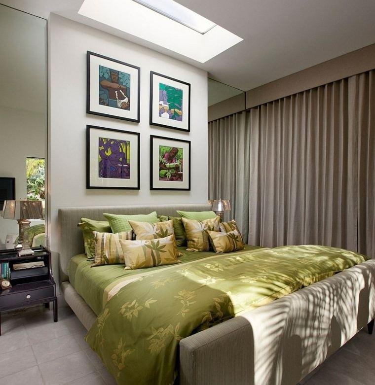 cabeceros originales dormitorio cama cuadros ideas
