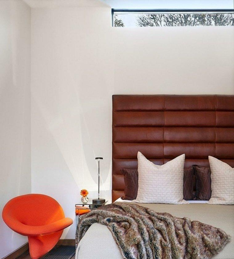 cabecero original dormitorio cama cuero marron ideas