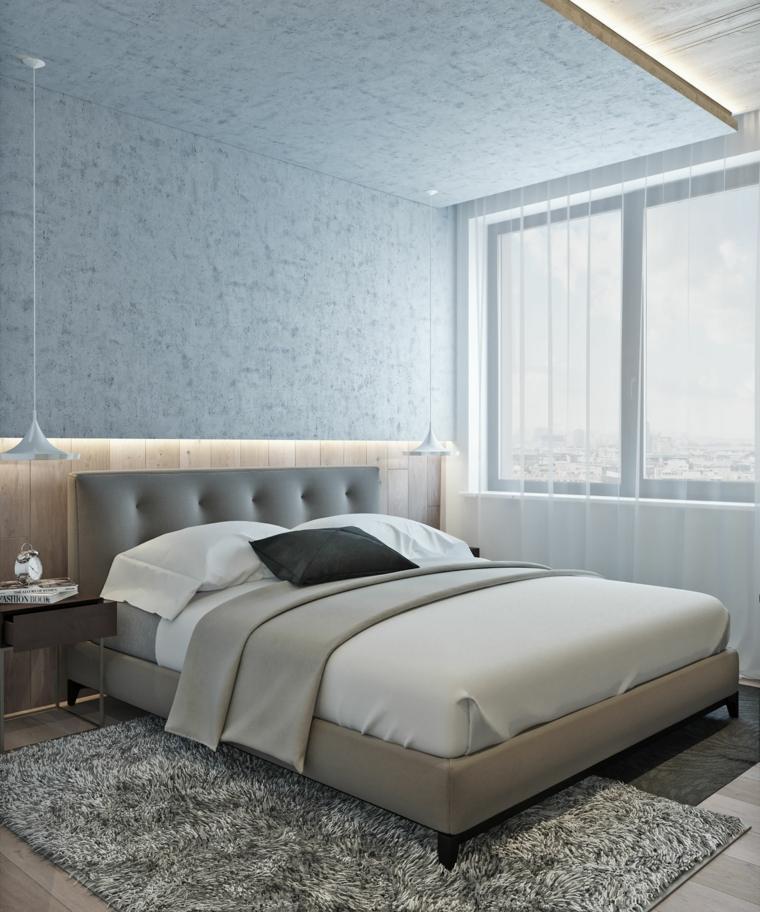 cabecero original dormitorio cama gris iluminacion LED ideas