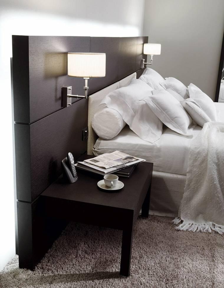 cabecero original dormitorio cama madera negra ideas