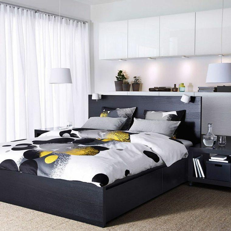 cabecero original dormitorio cama negra madera ideas