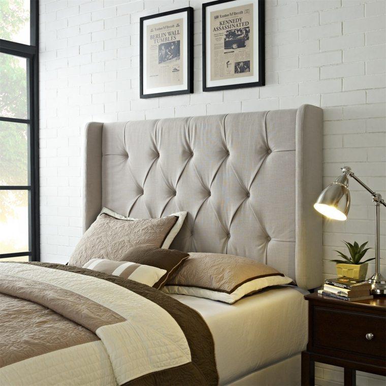 cabecero original dormitorio cama simple gris ideas