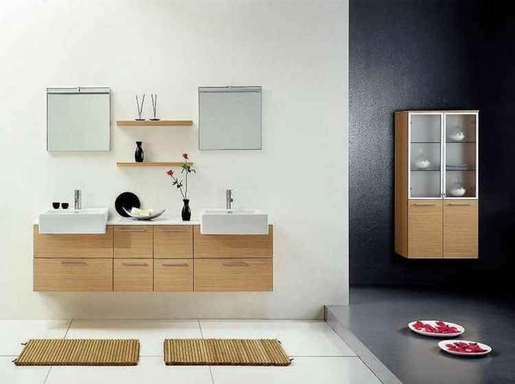 cabinetes modernos flotantes interiores jarrones