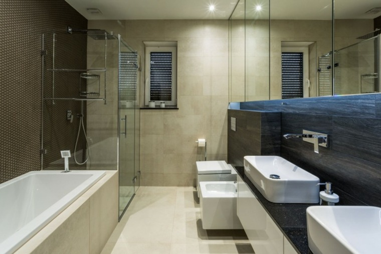 casa contemporanea ducha banera negro ideas