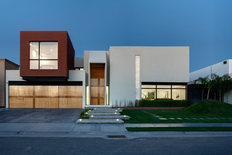 Fachadas de casas modernas treinta y ocho dise os for Tipos de escaleras arquitectura