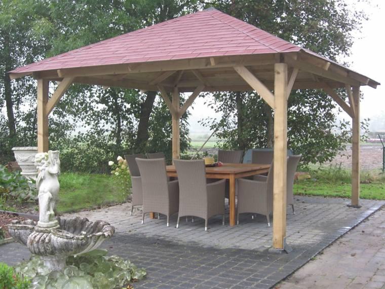 cenador madera tejado rojo tejas