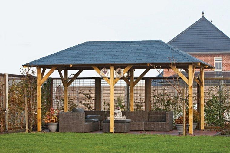 cenadores de madera diseño tejado