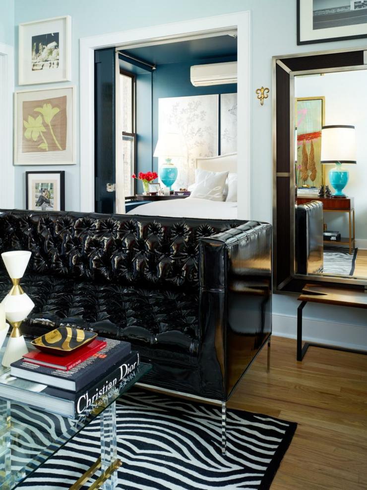 centro de mesa de salas creatividad vidrio alfombras negro