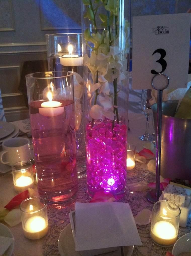 centros mesa boda velas flotantes