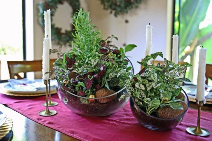 centros mesa detalles jarrones plantas rojo