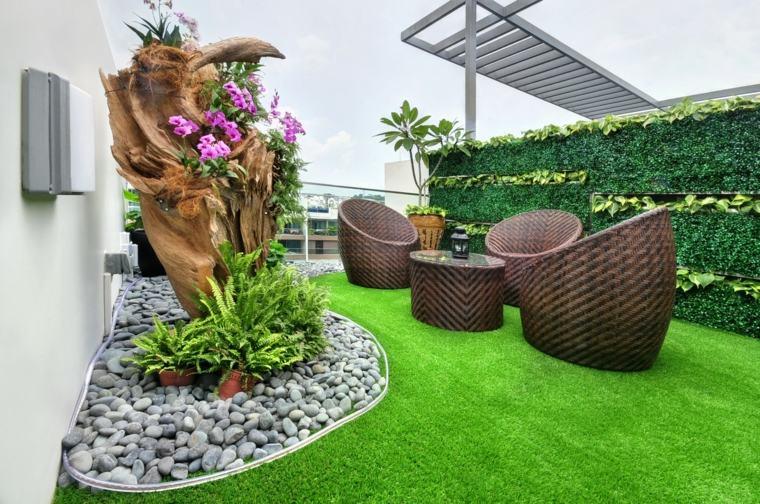 Decorar terrazas peque as con muebles y plantas - Muebles para terraza pequena ...