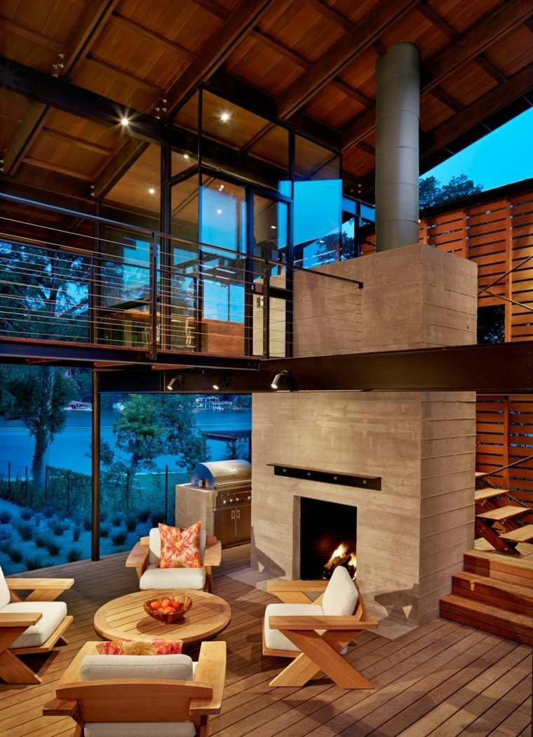 chimenea mesa sillones madera ideas
