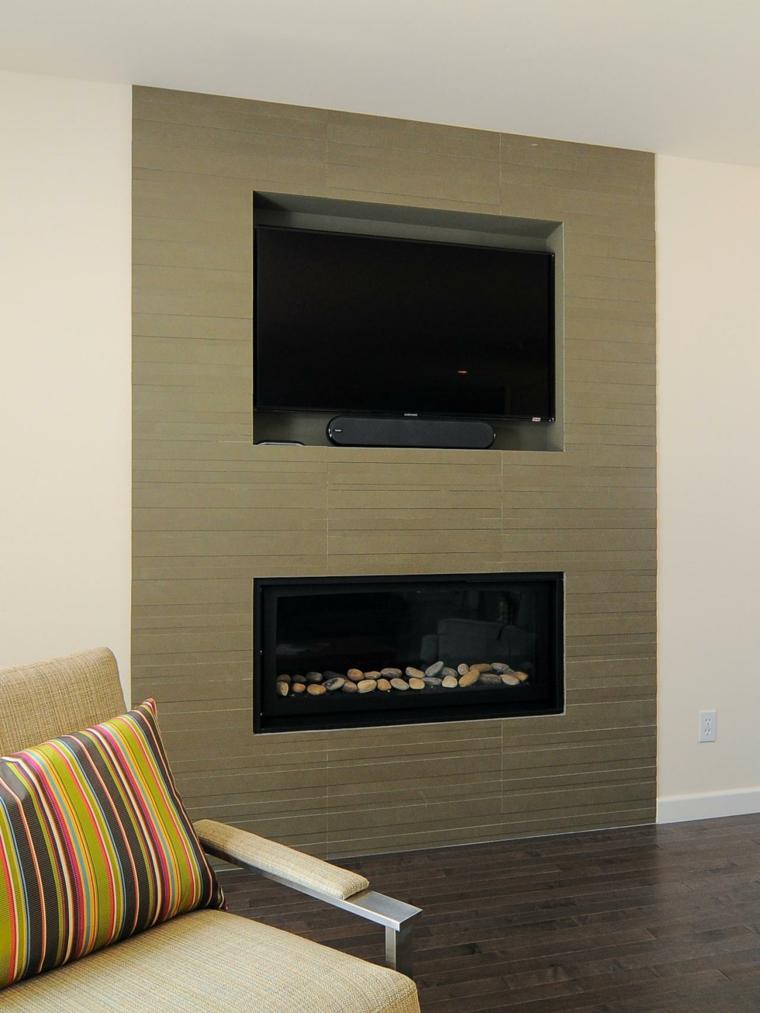 Salones con chimenea moderna 50 interiores c lidos - Chimeneas de diseno ...