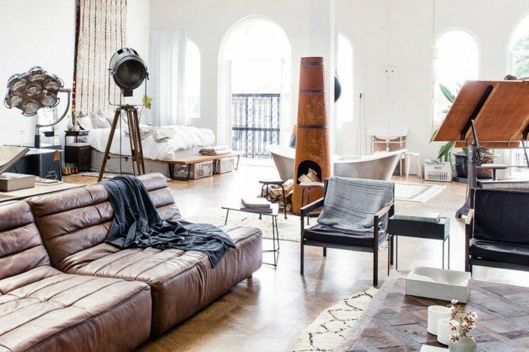 chimenea original sillones loft diseno moderno ideas