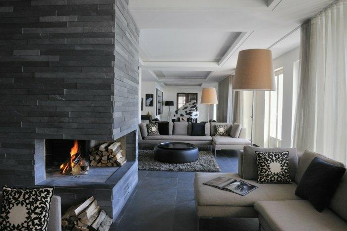 chimeneas salones paredes soluciones blanco grises