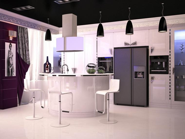 cocina barra blanca diseno moderno ideas