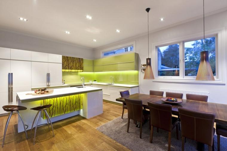 cocina barra combinacion verde blanco ideas