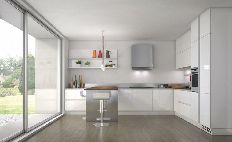 Cocinas blancas y grises los 50 dise os m s actuales - Cocinas con salida al patio ...