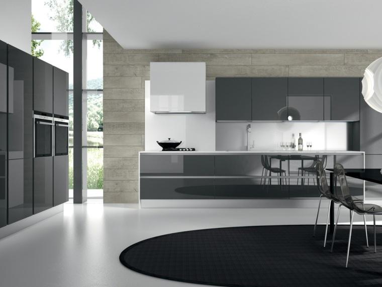 cocinas blancas y grises diseño moderno gris