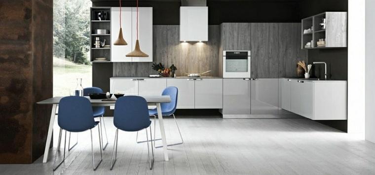 cocina diseño moderno sillas azules