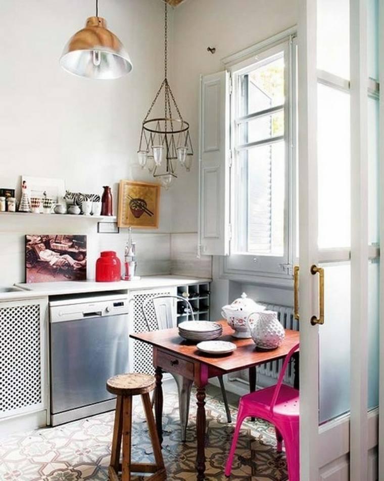cocina pequeña estilo nordico boho