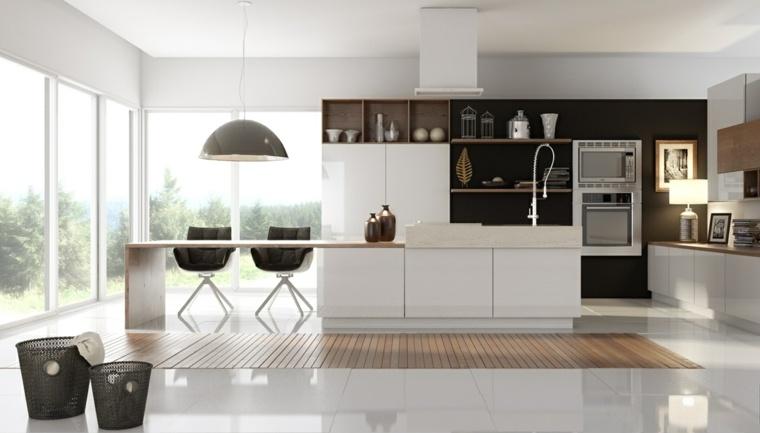 cocinas con isla 50 ideas de muebles blancos o de madera ForCocina Blanca Y Madera Moderna